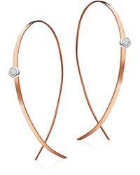 Lana Jewelry - Upside Down Small Diamond & 14k Rose Gold Flat Hoop Earrings/1 - Lyst