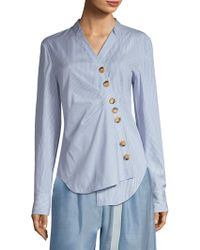 Tibi - Jones Striped Asymmetrical Shirt - Lyst