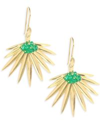Annette Ferdinandsen - Emerald 18k Gold Fan Palm Earrings - Lyst
