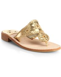 Jack Rogers - Hamptons Whipstitched Metallic Leather Sandals - Lyst