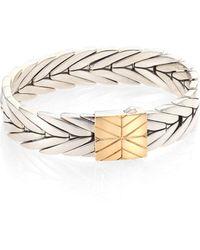 John Hardy - Modern Chain 18k Yellow Gold & Sterling Silver Bracelet - Lyst
