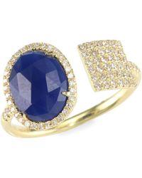 Meira T - Sapphire, Diamond & 14k Yellow Gold Wrap Ring - Lyst