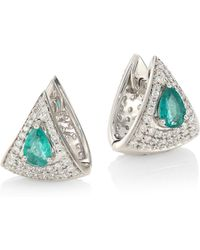 Hueb - Spectrum 18k White Gold, Diamond & Emerald Earrings - Lyst
