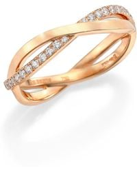 De Beers - Infinity Diamond & 18k Rose Gold Half Band Ring - Lyst