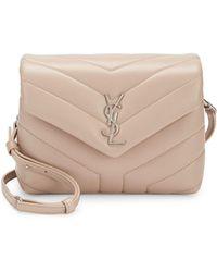Lyst - Saint Laurent Toy Loulou Calfskin Leather Crossbody Bag in Gray 3eabff1dcd112
