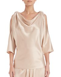 St. John - Caviar Collection Beaded Satin Cold-shoulder Top - Lyst