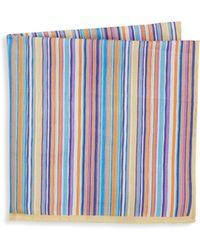Ike Behar - Men's Aqua Stripe Pocket Square - Aqua - Lyst