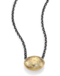 Rene Escobar - Diamond, 18k Yellow Gold & Sterling Silver Oval Pendant Necklace - Lyst