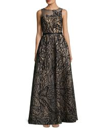 Basix Black Label - Ill Top Leaf Embroidered Detail Floor-length Gown - Lyst