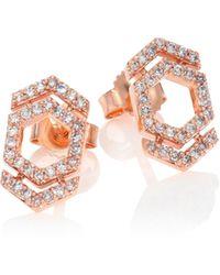 Astley Clarke - Honeycomb & Double Arrow Diamond & 14k Rose Gold Stud Earrings - Lyst