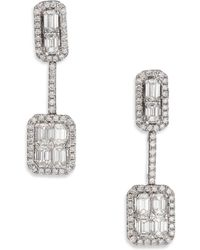 Roberto Coin - Baguette Deco Diamond & 18k White Gold Drop Earrings - Lyst