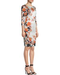 St. John - Floral Stretch-silk Sheath Dress - Lyst