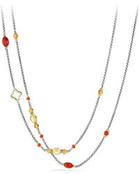 David Yurman - Bead And Chain Necklace With Carnelian, Amber, Citrine And 18k Gold - Lyst