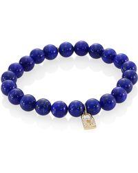 Sydney Evan - Blue Lapis, Diamond & 14k Gold Rondelle Lock Bracelet - Lyst