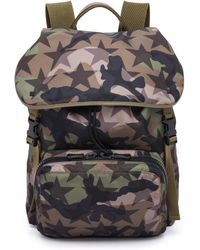 Valentino - Camouflage Star Nylon & Calf Leather Backpack - Lyst