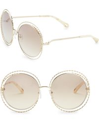 Chloé - 62mm Carlina Gold Flash Round Metal Sunglasses - Lyst