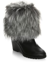 Sorel - Leather Boots With Faux Fur - Lyst