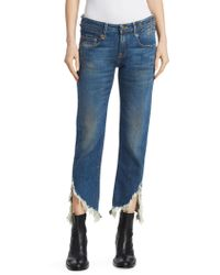 R13 - Frayed Straight-leg Fray Hem Jeans - Lyst