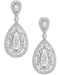 Adriana Orsini - Pave Crystal Small Pear Drop Earrings/silvertone - Lyst