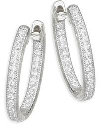 Jude Frances - Lisse Diamond Small Oval Hoop Earring - Lyst