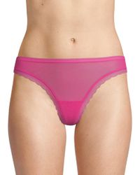 On Gossamer - Solid Lace-trimmed Thongs - Lyst
