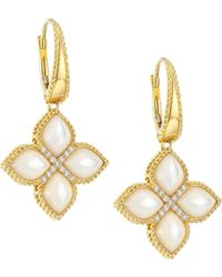 Roberto Coin - Venetian Princess 18k Yellow Gold, Diamond & Mother Of Pearl Flower Drop Earrings - Lyst