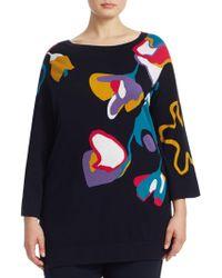 Marina Rinaldi - Floral Knit Sweater - Lyst