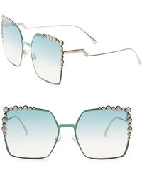 b1d0c8905f4 Fendi - 60mm Oversize Crystal-trim Square Sunglasses - Lyst