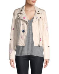 Lamarque - Donna Rock Patch Leather Biker Jacket - Lyst
