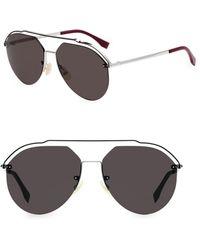 c042a4944ca Fendi - 61mm Metal Aviator Sunglasses - Lyst