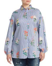 Marina Rinaldi - Plus Floral-print Cotton Button-down Shirt - Lyst