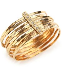 Jacquie Aiche - Diamond & 14k Yellow Gold Hammered Bar Ring - Lyst