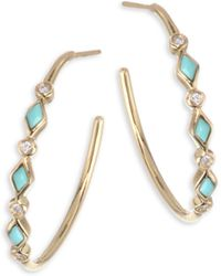 Sydney Evan | Diamond & Turquoise Bezel Hoop Earrings/0.75 | Lyst