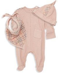 Burberry - Baby Girl's Colby Three-piece Beanie, Bib & Footie Set - Lyst