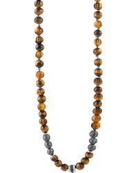 Tateossian - Formentera Sterling Silver & Tiger's Eye Beaded Necklace - Lyst