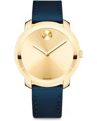 Movado - Mid-size Bold Crystal Leather-strap Watch - Lyst