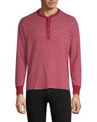Ovadia And Sons - Zack Checkerboard Cotton Henley - Lyst