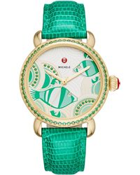Michele Watches - Seaside Diamond, Topaz & Lizard-embossed Leather Strap Watch - Lyst