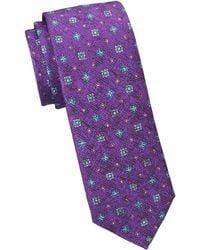 Saks Fifth Avenue - Collection Textured Medallion Print Silk Tie - Lyst
