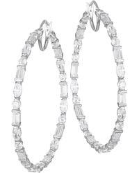 Adriana Orsini - Large Mixed-shape Cubic Zirconia Hoop Earrings - Lyst