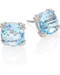 Anzie | Dew Drop Sky Blue Topaz & Sterling Silver Stud Earrings | Lyst