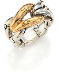 John Hardy - Bamboo 18k Yellow Gold & Sterling Silver Link Ring - Lyst