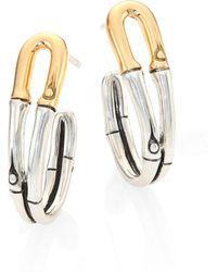 John Hardy - Bamboo 18k Yellow Gold & Sterling Silver Hoop Earrings/1 - Lyst