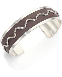 Chan Luu - Beaded Leather & Sterling Silver Cuff Bracelet - Lyst