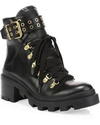 Alice + Olivia - Havis Leather Chunky Combat Boots - Lyst