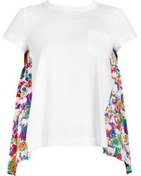 da38b7f00bfb Lyst - Sacai Star Lace Back Slub T-shirt in White