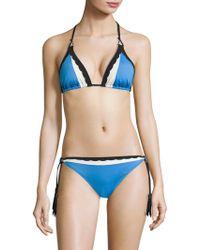 Shan   Three Of A Kind Colorblock Triangle Bikini Top   Lyst