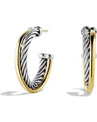 David Yurman - 18k Yellow Gold & Sterling Silver Crossover Hoop Earrings/1 - Lyst
