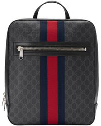 1805062afa389d Gucci Web And Snake Print Leather Backpack in Black for Men - Lyst