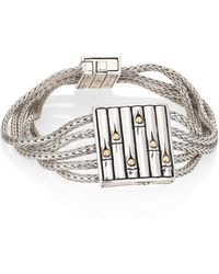 John Hardy - Bamboo 18k Yellow Gold & Sterling Silver Bracelet - Lyst
